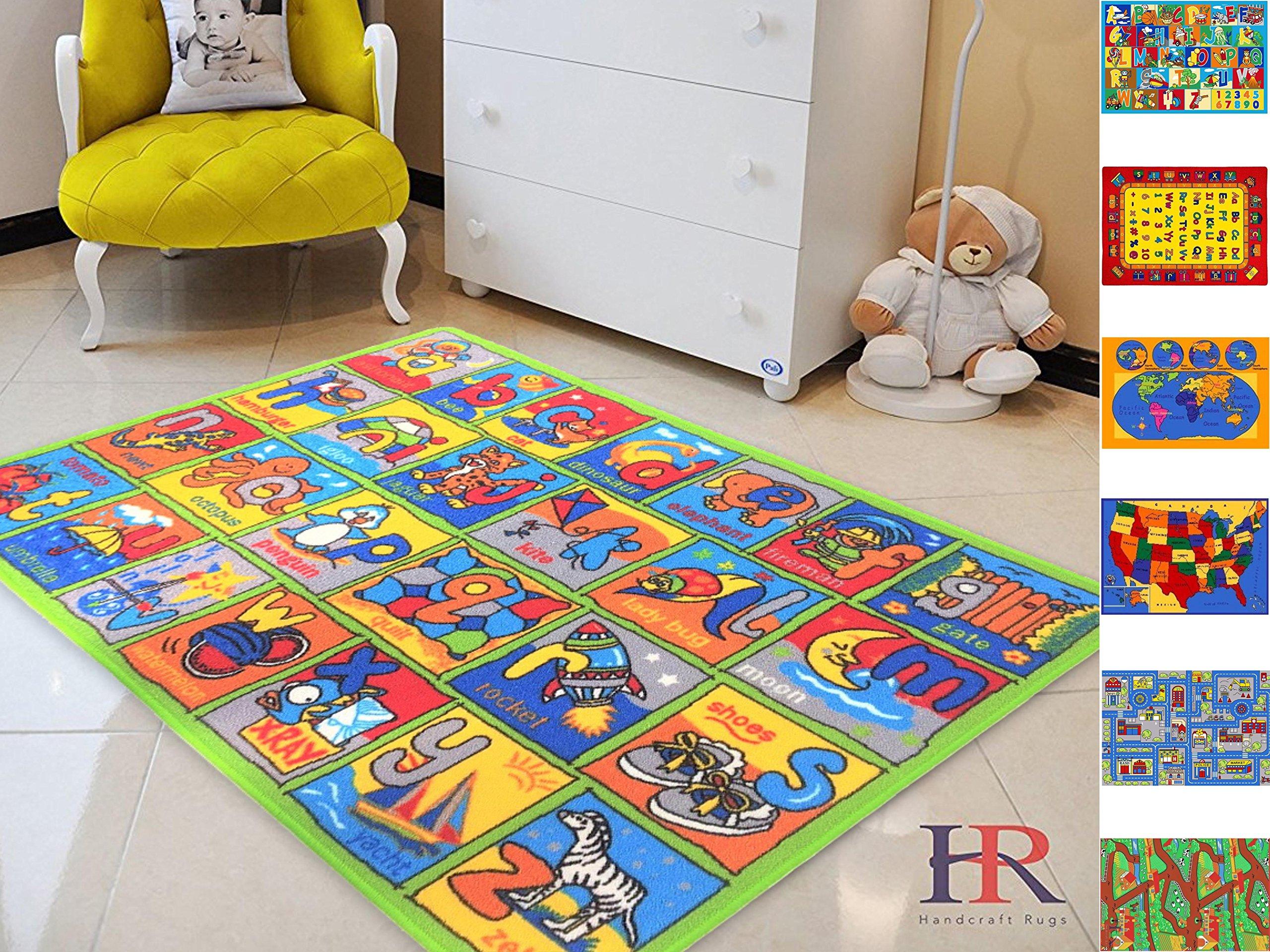 Handcraft Rugs-Game Carpets for Kids, Kids Toy, Kids learning rug, Kids Floor Rug Learning Alphabet Non-Slip / Gel Back Kids Bedroom / Classroom Carpet 8 ft. by 10 ft.
