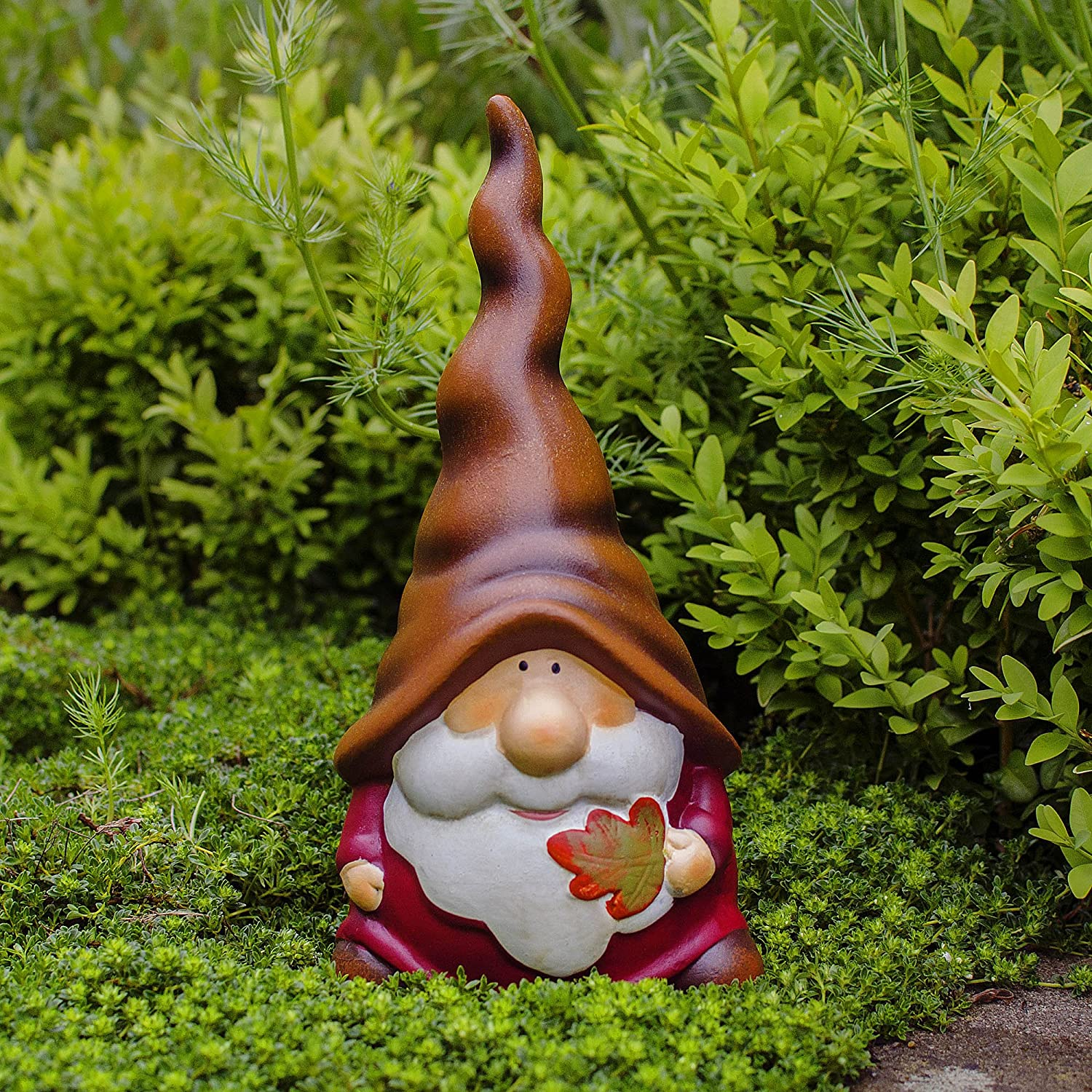 Austin the Terracotta Autumnal Garden Gnome Ornament Holding a Leaf Gardens2you