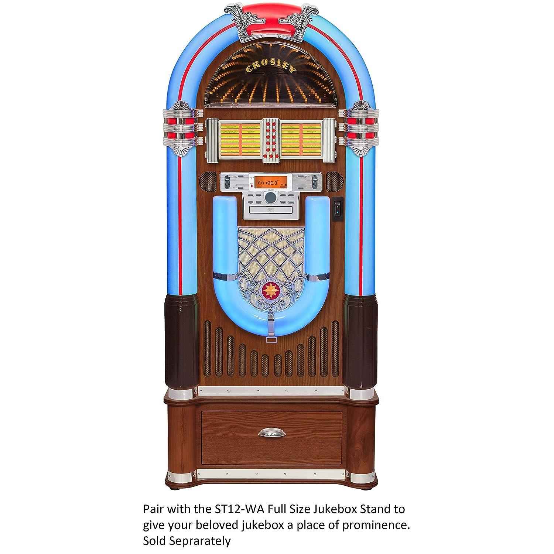 Crosley Full Size iJuke Bluetooth Jukebox with CD, AM/FM Radio and Color  Changing LED Lights, Walnut