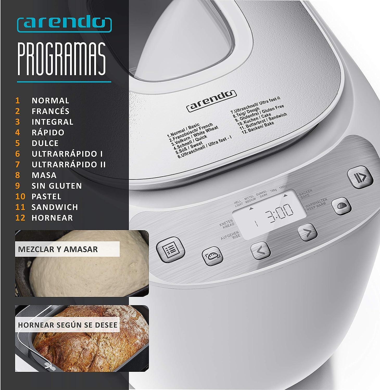 arendo Panificadora – 12 programas – Pantalla LCD – sin Gluten – 700-1000 g – Pan, Masa para Pizzas, Pasteles - Revestimiento Antiadherente – Libre de ...