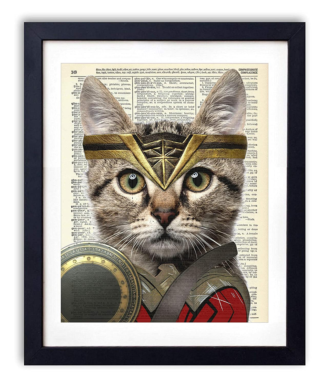 Wonder Cat, Superhero Kids Bedroom Wall Decor, Vintage Wall Art Upcycled Dictionary Art Print Poster For Kids Room Decor 8x10 inches, Unframed