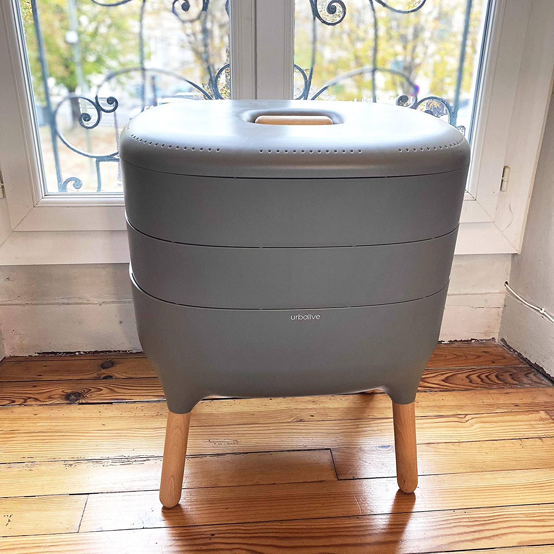 Urbalive Grau Schaufel I Innenraum Komplettset I Design Wurmkomposter I 250g Kompostw/ürmer // 500 STK Balkon und Garten I Startersubstrat I Hanfmatte