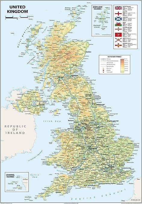 Cartina Geografica Dell Irlanda.Mappa Di Regno Unito E Irlanda Del Nord Formato A2 42 X 59 4 Cm Amazon It Cancelleria E Prodotti Per Ufficio