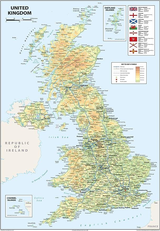 Mapa del Reino Unido de Gran Bretaña e Irlanda del Norte, tamaño A2 de 42 x 59,4 cm: Amazon.es: Oficina y papelería