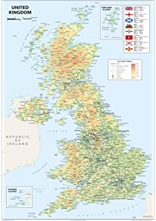 Map Of UK And Ireland Amazoncouk Schofield Sims - Map of great britain and ireland