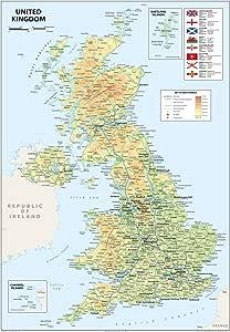 Mapa del Reino Unido de Gran Bretaña e Irlanda del Norte, tamaño ...