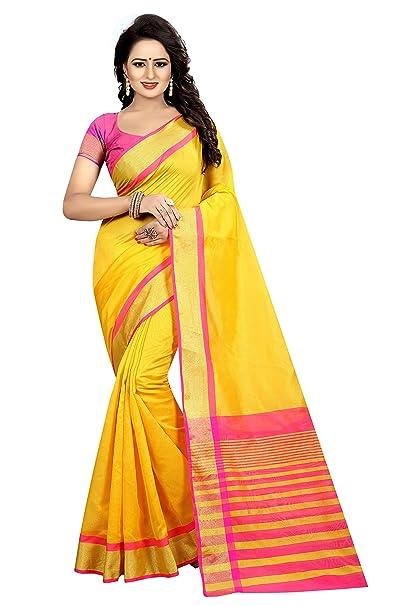 747ae48a56 Yashika Women's Silk Cotton Saree With Blouse Piece (SDPL-MASTANI WEAVING  _Yellow_ Free Size): Amazon.in: Clothing & Accessories