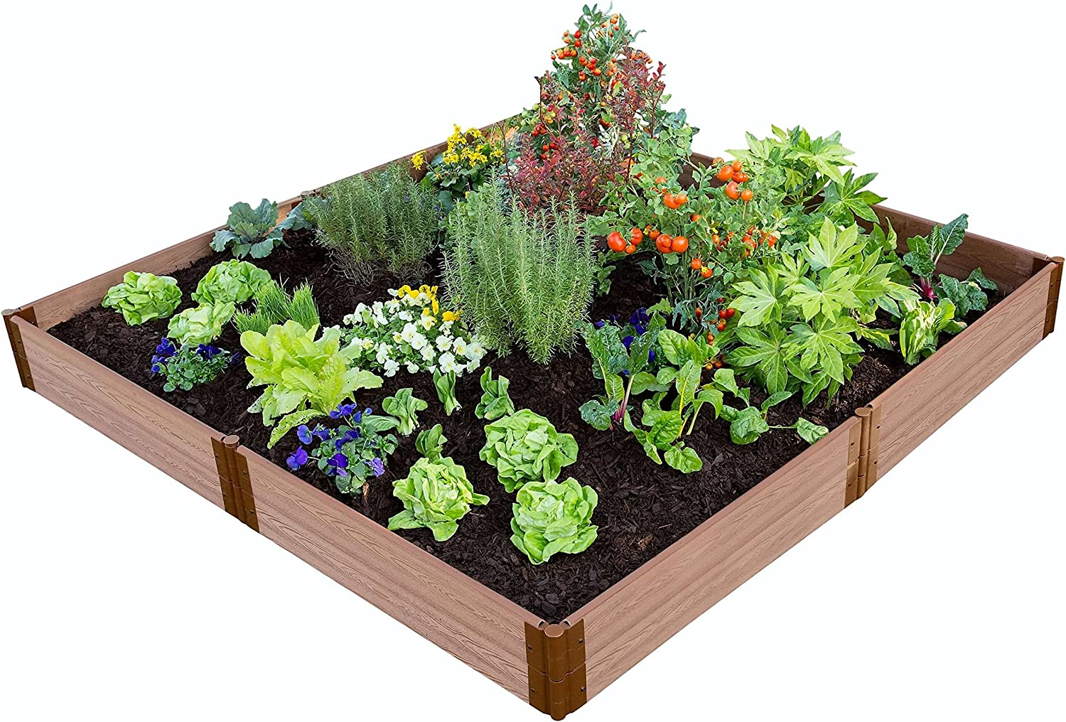 Composite Raised Garden Bed Kit Expandable Natural One Inch Series 4 Square ft