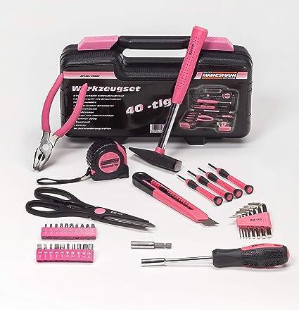 Brüder Mannesmann – Maletín de herramientas de 40 piezas, color rosa (Color Rosa)