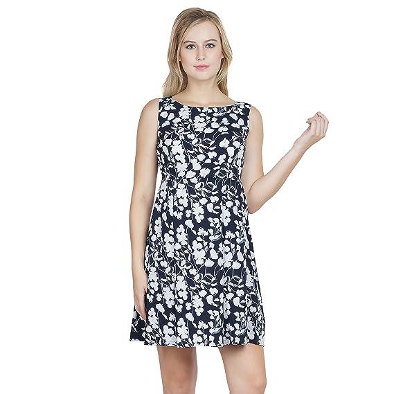 f380d64a59fe Beau Design Women s Blue Base Multicolour Sleeveless Crepe Floral Print  Designer Dress