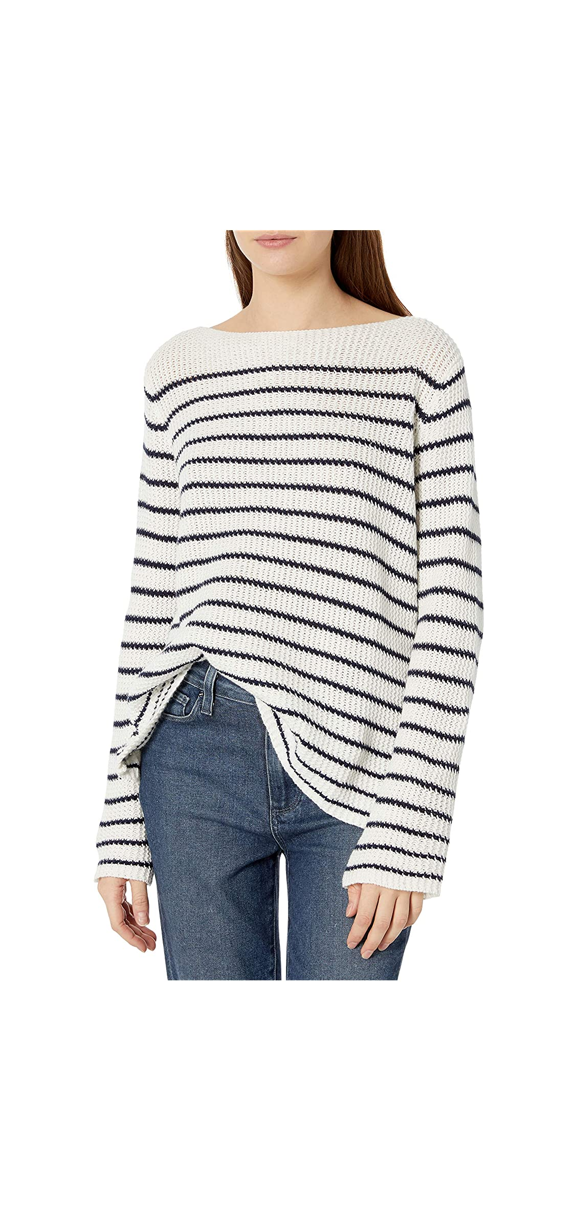 Women's Boat Neck Striped Sweater