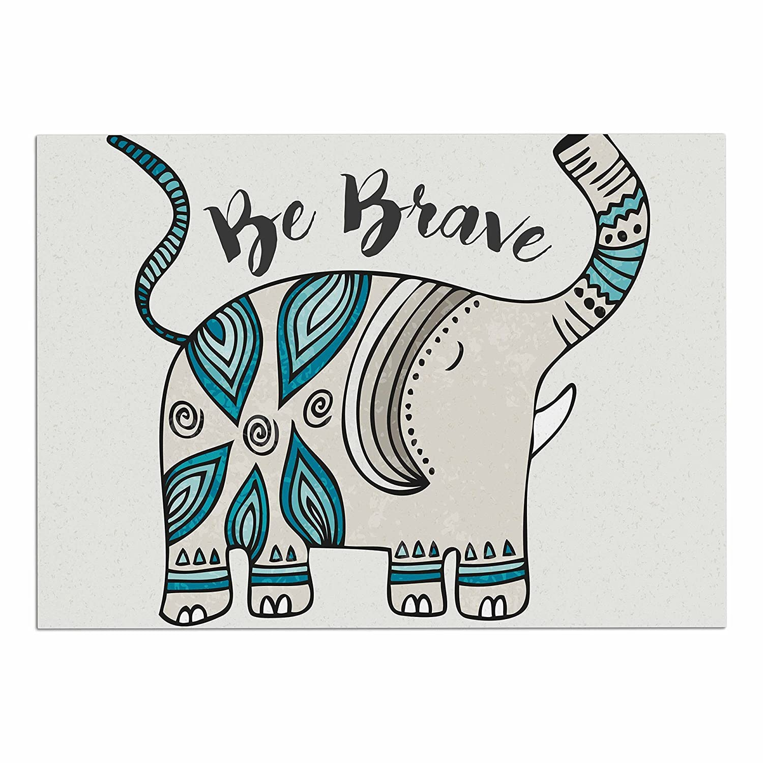 KESS InHouse PG1117ADM02 Pom Graphic Design Be Brave Teal Typography Dog Place Mat, 24  x 15