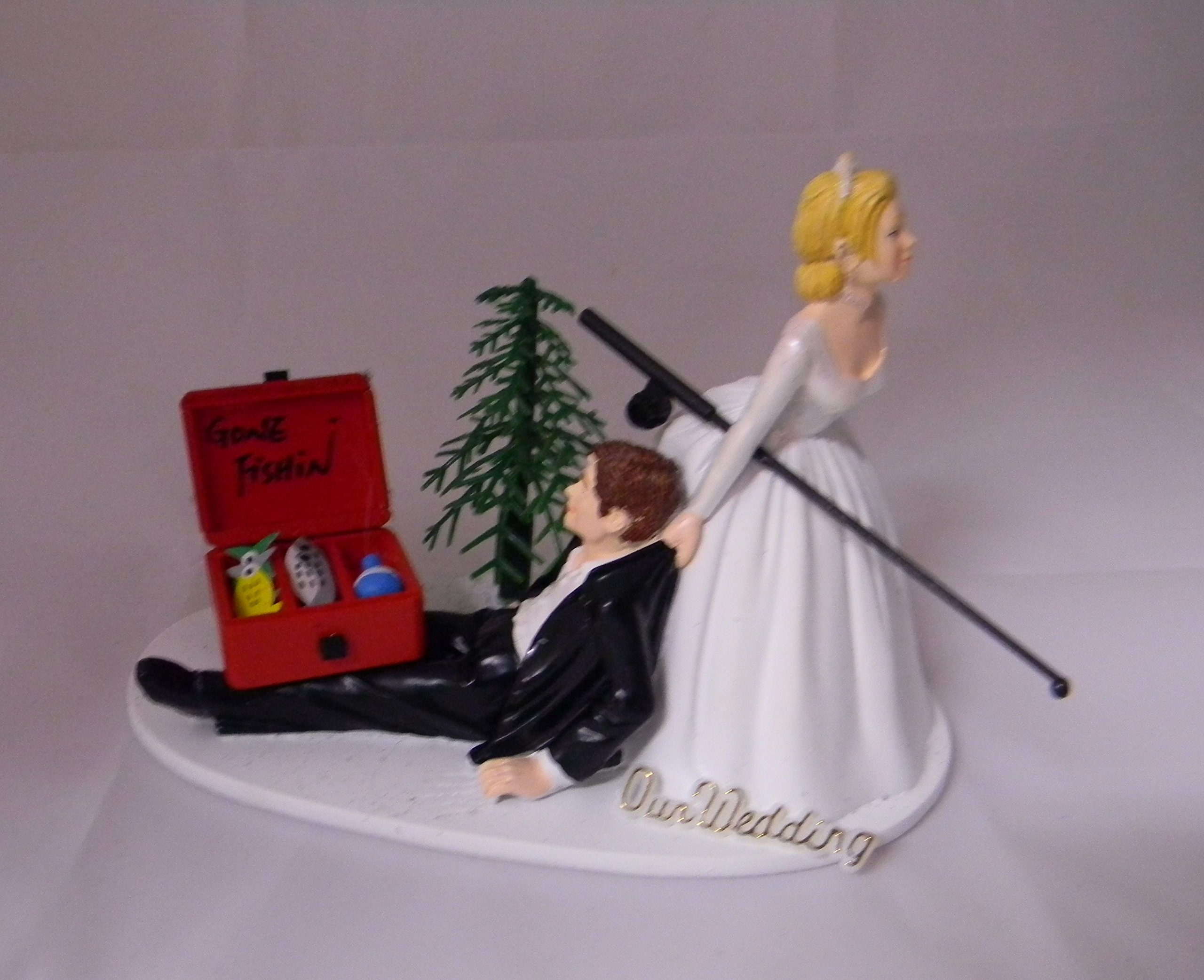 Wedding Reception Ceremony Party Fishing sign Pole Tackle Cake Topper