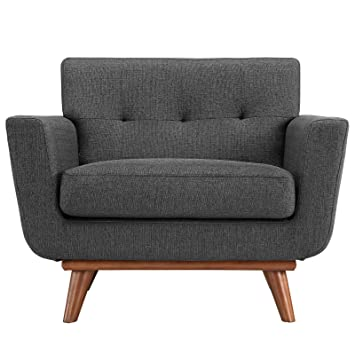 Modway Engage Mid Century Modern Upholstered Fabric Armchair In Gray