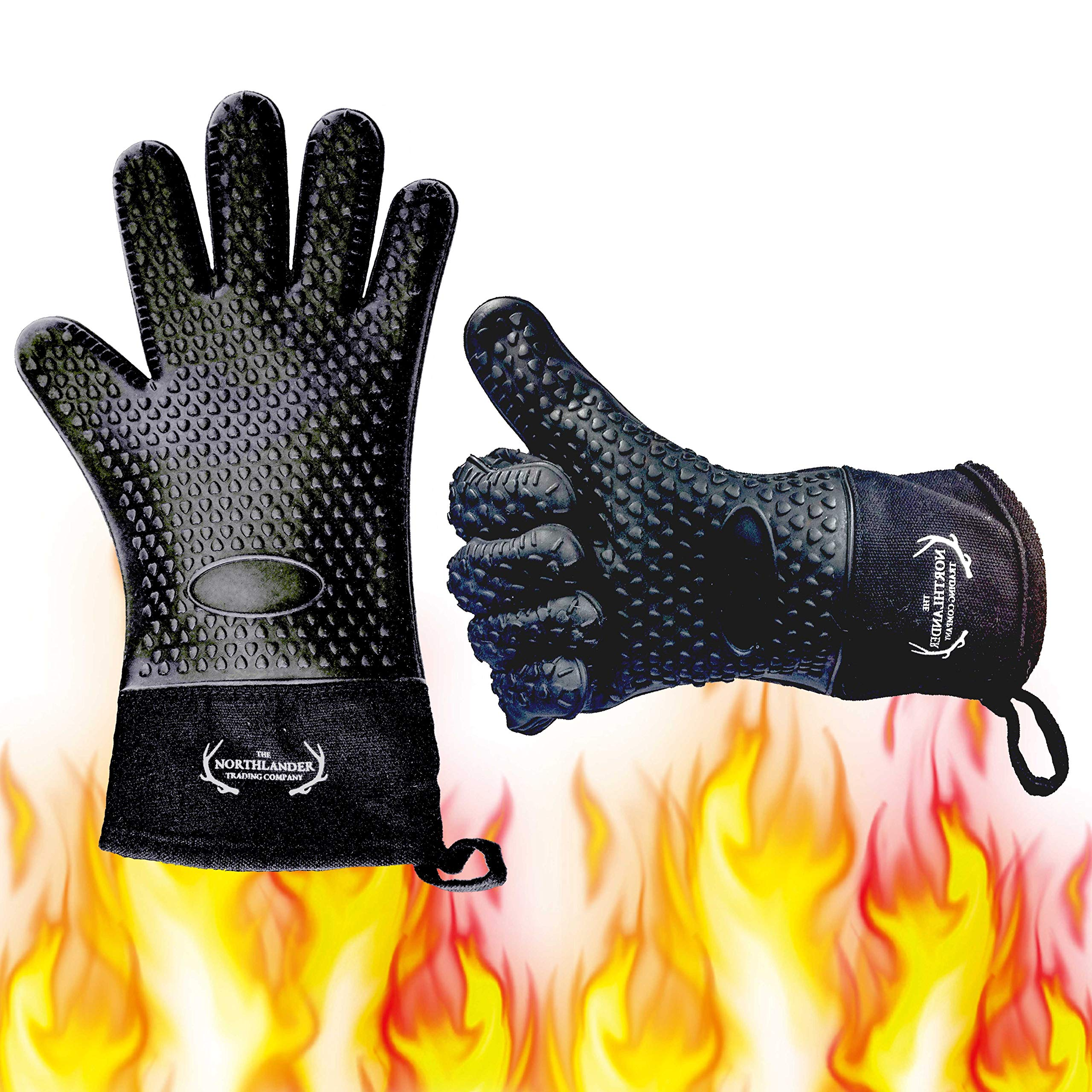 Long Silicone Grill Gloves - Heat Resistant Oven Mitts & Potholders for BBQ, Cooking, Baking - Wrist Protected, Waterproof, Cotton Layer inside, Non-slip Grill Accessories, 1 Size Fits All (Black) by NORTHLANDER