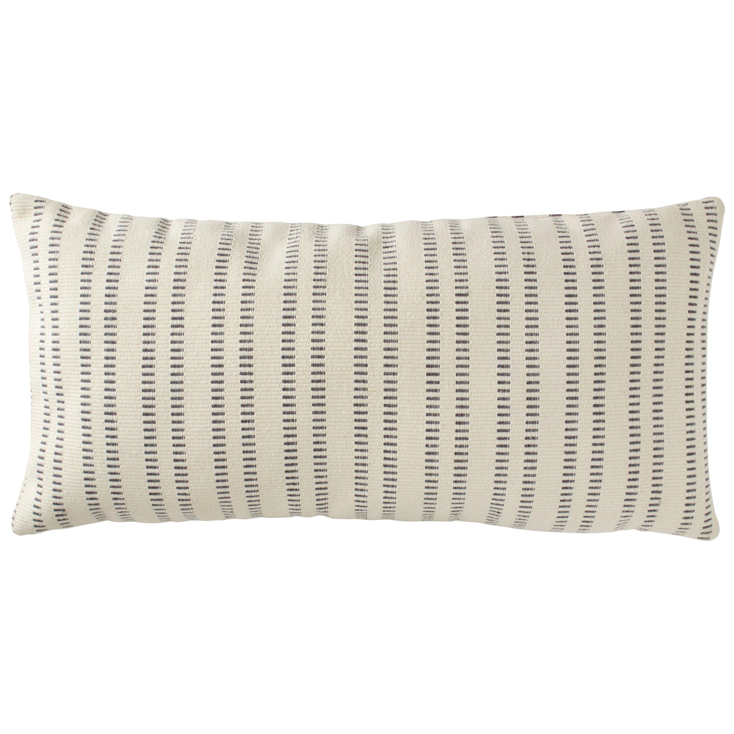 Stone & Beam French Laundry Stripe Pillow, 12'' x 24'', Ivory, Grey