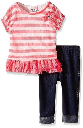 5300af725da3 Amazon.com: Little Lass Baby Girls' 3 Piece Capri Set Stripe Lace: Clothing