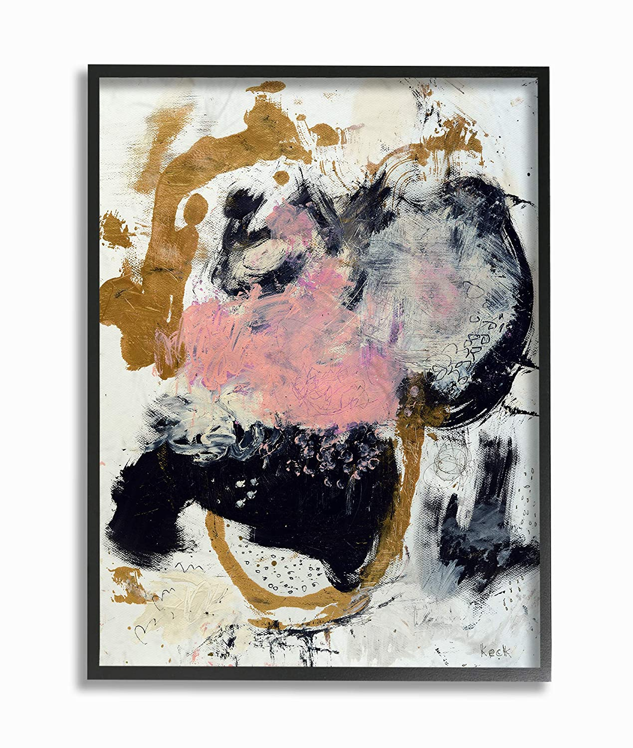 The Stupell Home Decor Pink Black and Yellow Dry Brushed Abstract Painting Framed Giclee Texturized Art Multi-Color 16 x 20