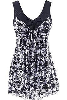 1ffc58d6f8 Wantdo Women s Plus Size Swimdress Flower Printed Swimwear Cover Up  Swimsuits