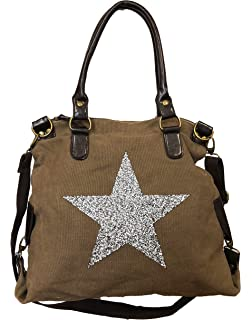 23318cbc10317 Strass Star Tasche Stern Bag Damen Stamp Fashion Shopper Henkeltasche Canvas  Stoff