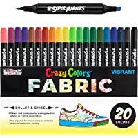 Super Markers 20 Unique Colors Dual Tip Fabric & T-Shirt Marker Set-Double-Ended Fabric Markers with Chisel Point and…