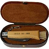 Gifaz Coltello per funghi, caccia e pesca in legno di faggio in cofanetto di pelle portagioie