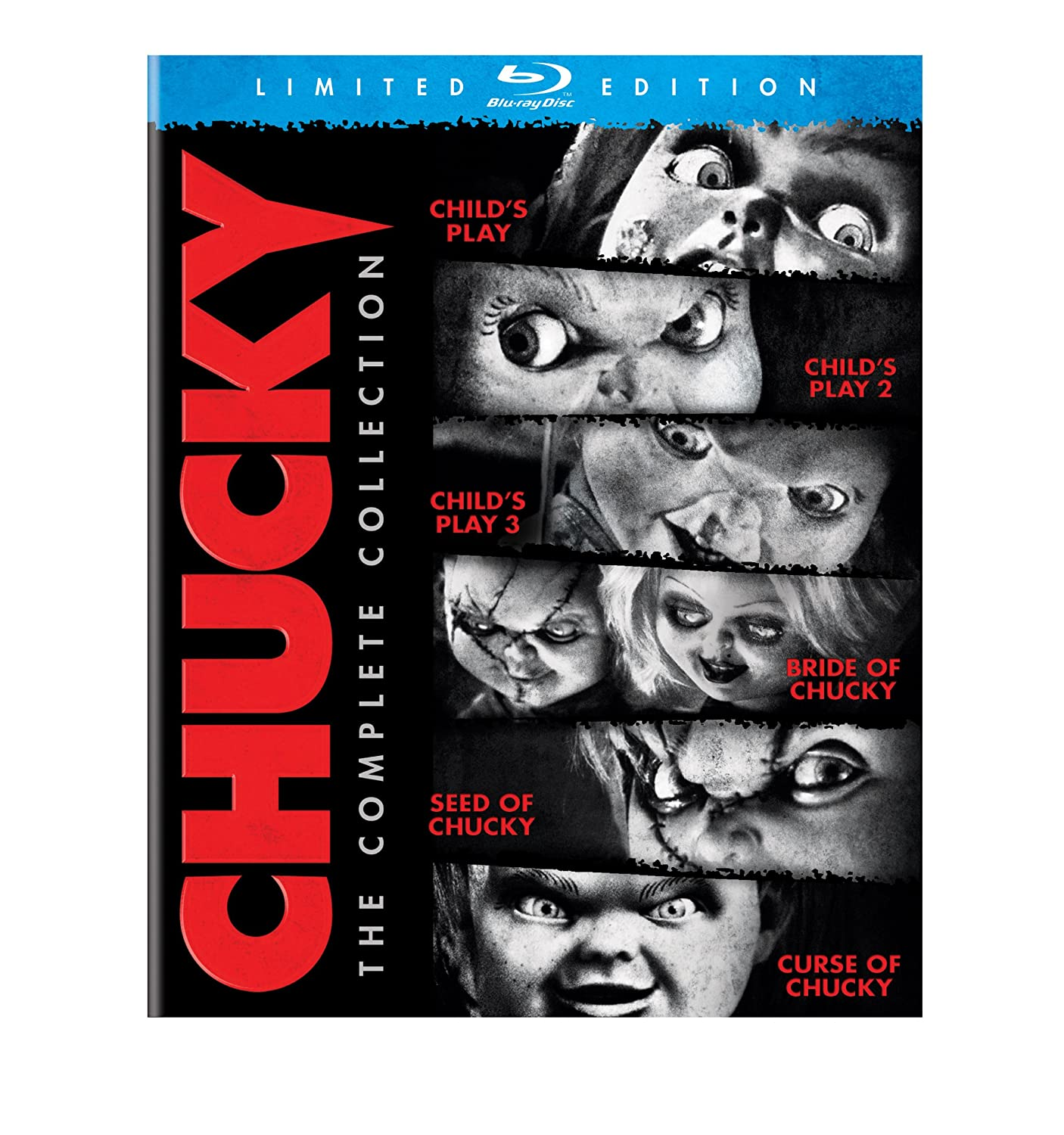Chucky The Complete Collection Blu Ray Catherine Hicks Alex Vincent Justin Whalin Jennifer Tilly Brad Dourif Chris Sarandon Jenny Agutter Perrey Reeves Katherine Heigl Gerrit Graham Jeremy Sylvers Billy Boyd Fiona Dourif