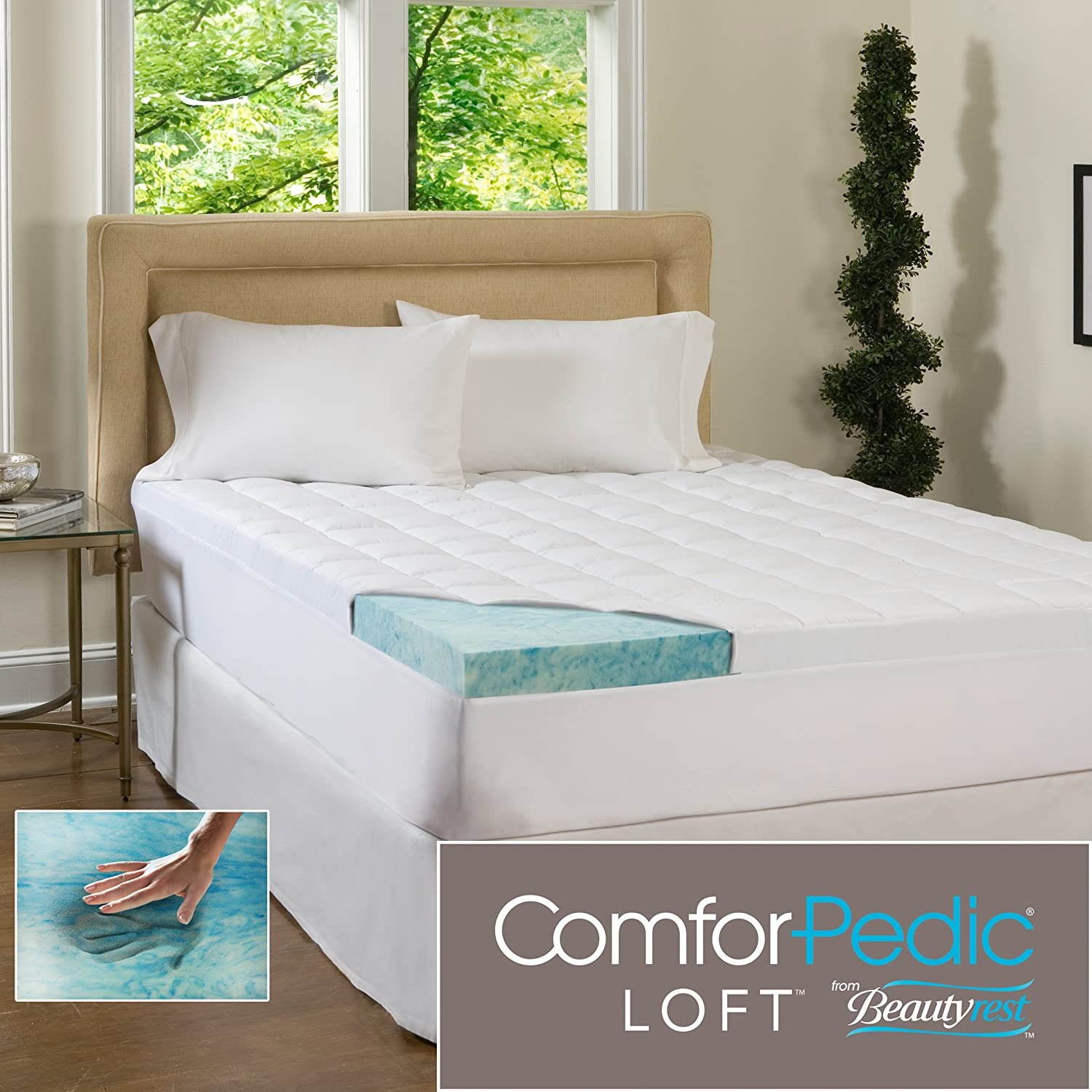 Amazon.com: ComforPedic Loft Beautyrest 5.5-Inch Supreme Gel Memory Foam  Topper for All Bed Sizes. Combining the 4-Inch Revolutionary Memory Foam  Infused ...