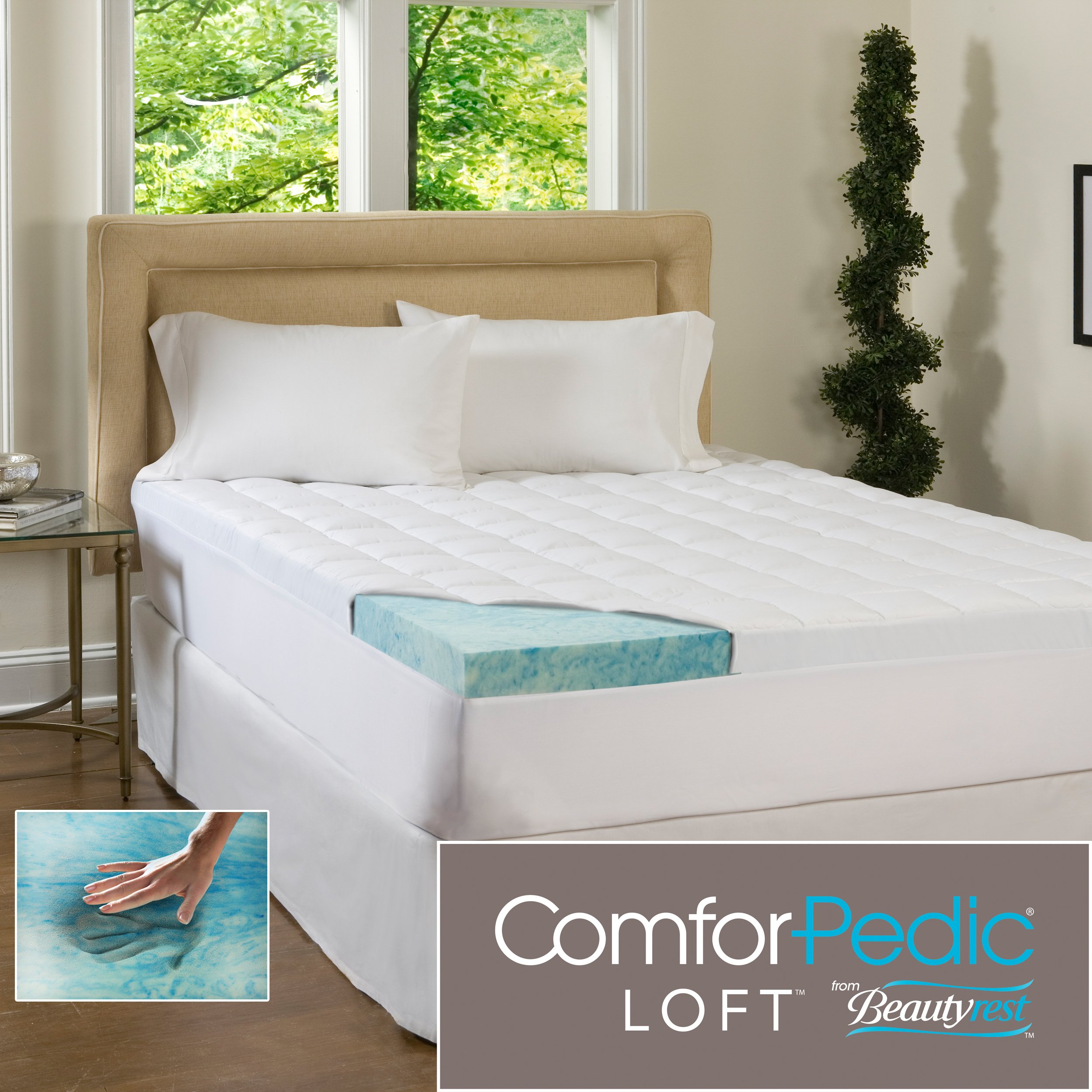 ComforPedic Loft Beautyrest 5.5-Inch Supreme Gel Memory Foam Topper for All Bed Sizes. Combining the 4-Inch Revolutionary Memory Foam Infused with Cool, Rejuvenating Gel Paired with a 1.5-Inch Fiber-Filled Cover Offers Luxurious Comfort and Support. (Quee