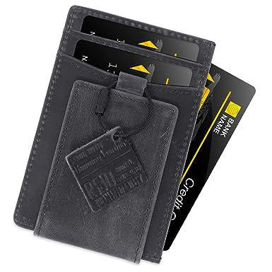 2c1e149a1bee FIDELO Minimalist Slim Magnetic Money Clip Wallets for Men - RFID Blocking  Credit Card Holder Front