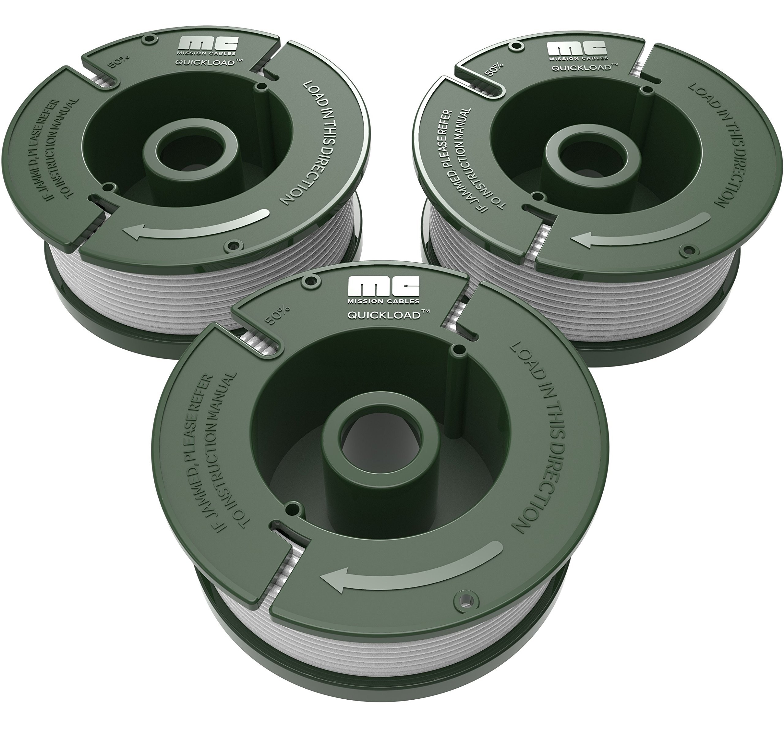 Quickload 0.065'' Replacement Autofeed Spool 3-Pack (Compatible with AF-100 / BLACK and DECKER String Trimmers)