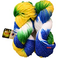 GANGA Glow Knitting Yarn Wool, Blue Parrot 200 gm Woolen Crochet Yarn Thread. Best Used with Knitting Needles, Crochet Needles. Vardhman Wool Yarn for Knitting. Best Woolen Thread.