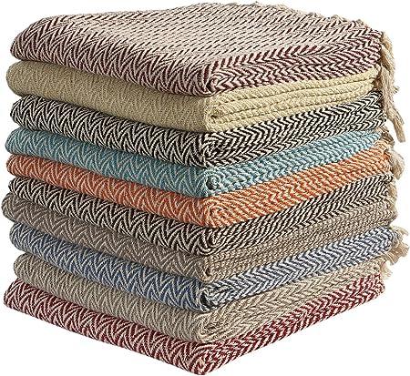 Mantas de algodón zigzag-zag para sofá, cama de una plaza y silla, 125 x 150 cm (color al azar): Amazon.es: Hogar