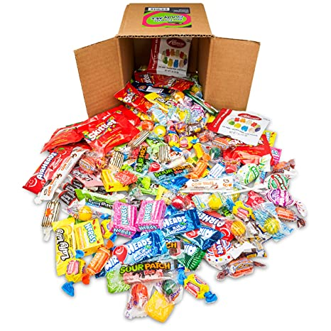 Your Favorite Mix Of Brand Name Candy! - 3 Pound Box of Gummi Bears, Tootsie Rolls, Skittles, Lemon Heads, Jaw Busters & More By Snackadilly (In a 6 inch cube box), Make a great gift!