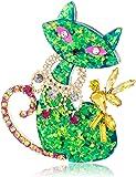 Betsey Johnson Womens Green Cat Pin