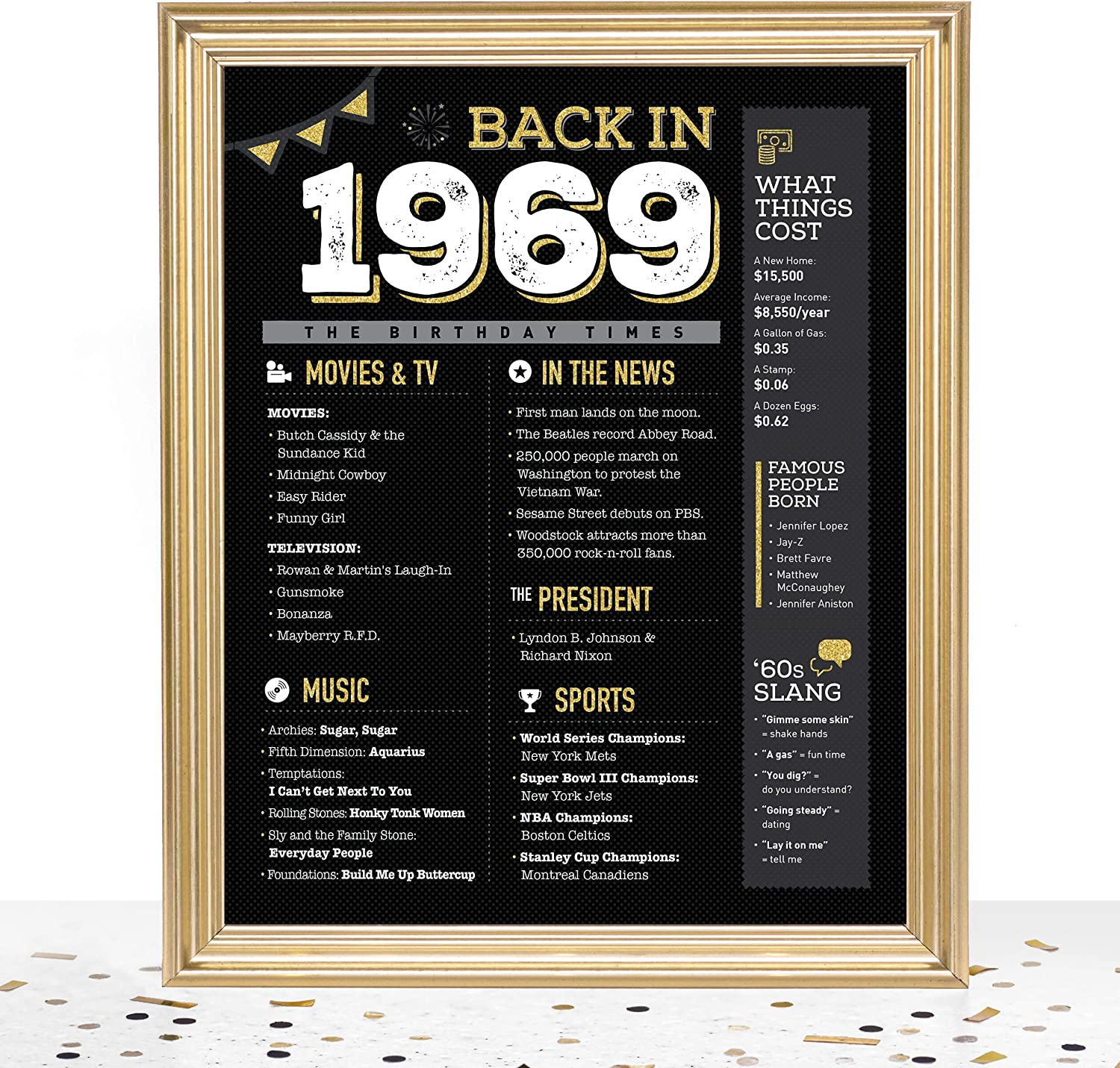 GoodSite Brands 51st Birthday Decorations Anniversary Centerpiece Gifts for Women Men   8x10 Back in 1969 Sign/Poster Unframed   Perfect Party Table Decor, Black/Gold with Fun Vintage Look
