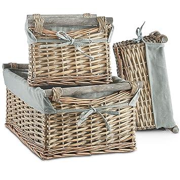 Juego de 3 cestas de mimbre de VonHaus, con forro lavable gris, estilo retro y elegante, para almacenamiento: Amazon.es: Hogar