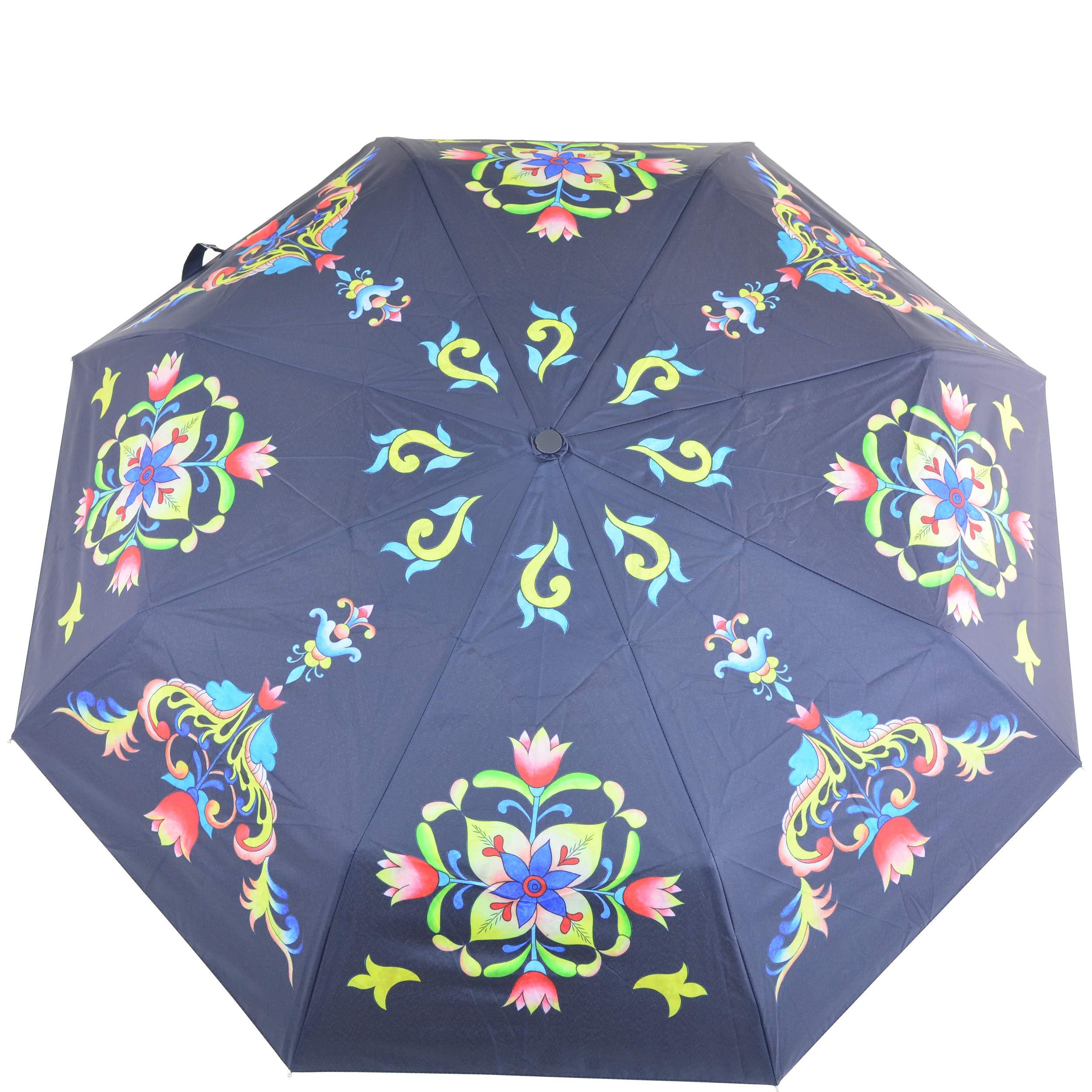 "Anuschka Umbrella AUTO Open/Close   UPF 50+ Max Sun protection   38"" Waterproof Canopy   Fits in Handbag   Windproof Flexible Fiberglass   Tuscan Tiles"