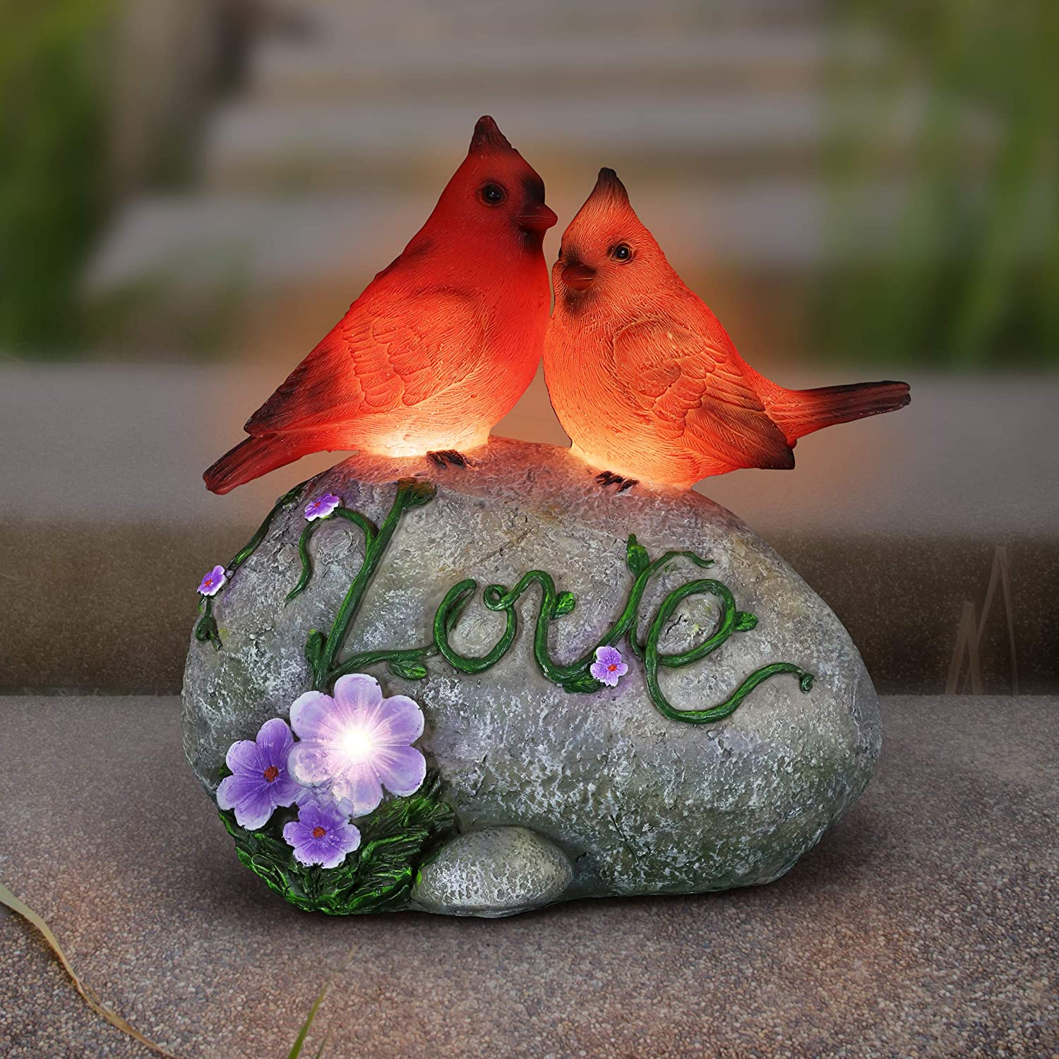 "Exhart Solar Cardinal Love Rock Statue w/LED Light Flower – Hand Painted Garden Art for Indoor & Outdoor Use - Durable Weather-Resistant Resin Bird Statues for Home & Garden Decor, (7.5"" x 4.5"" x 8"")"