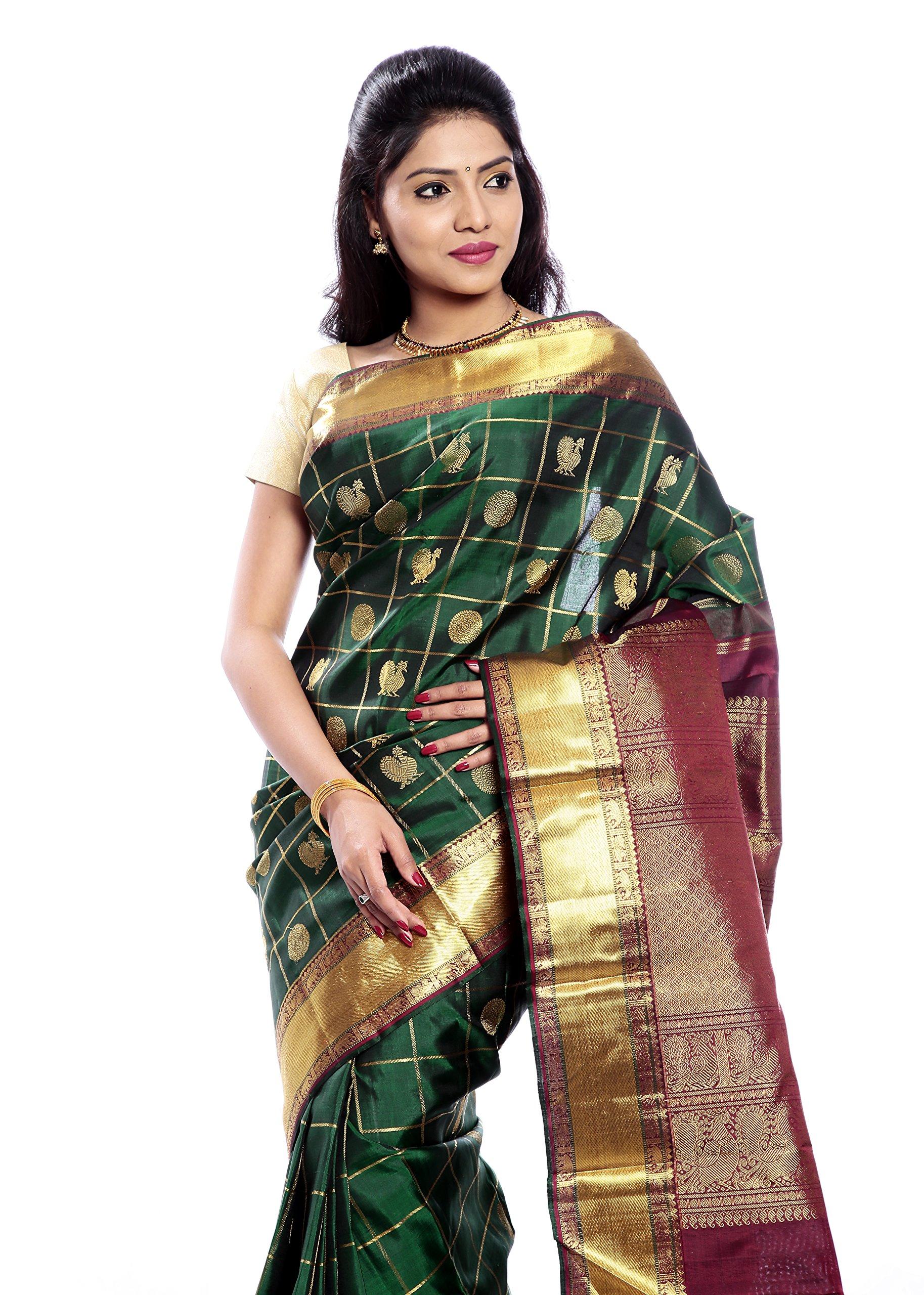 Mandakini — Indian Women's Kanchipuram - Handloom - Pure Zari & Pure Silk Saree (Dark green ) (MK210) by Mandakini (Image #2)