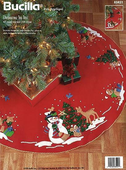 """Bucilla Falda de árbol de fieltro apliques Kit 43/"""" Round-Carrusel Santa"""