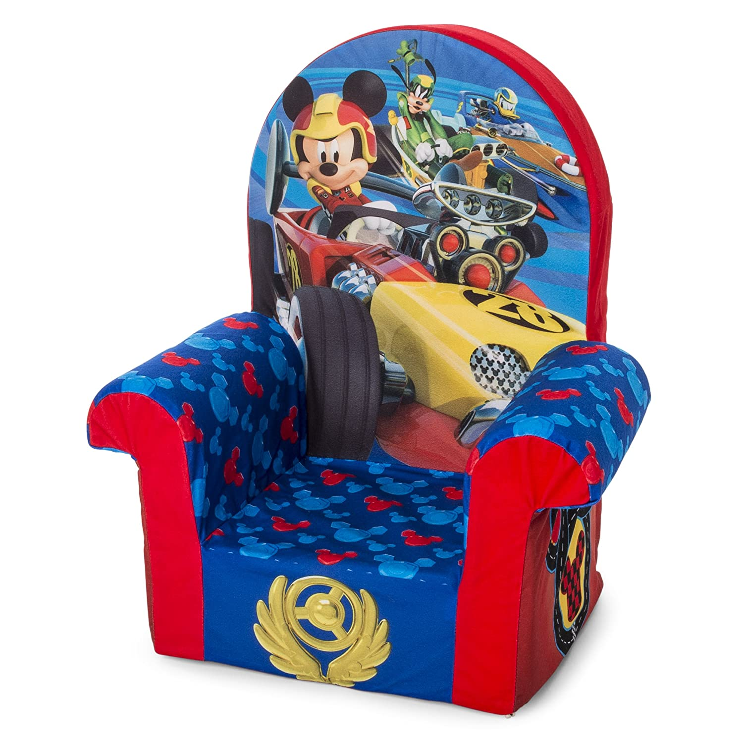 Enjoyable Marshmallow Furniture Childrens Foam High Back Chair Disney Mickey Mouse Roadsters High Back Chair Pabps2019 Chair Design Images Pabps2019Com