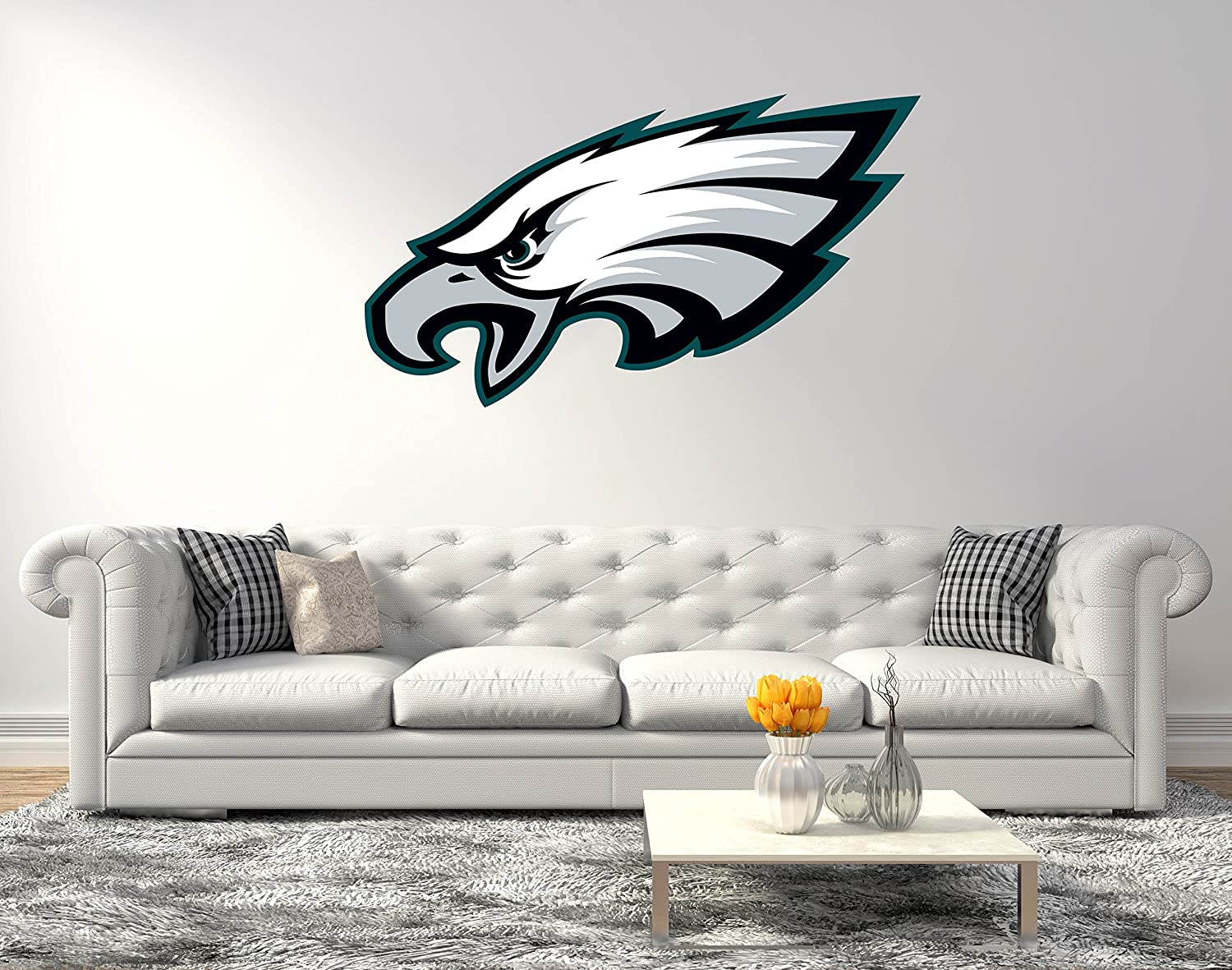 Eagles Face - Football Team Super Bowl - Wall Decal for Home Decoration (Wide 20