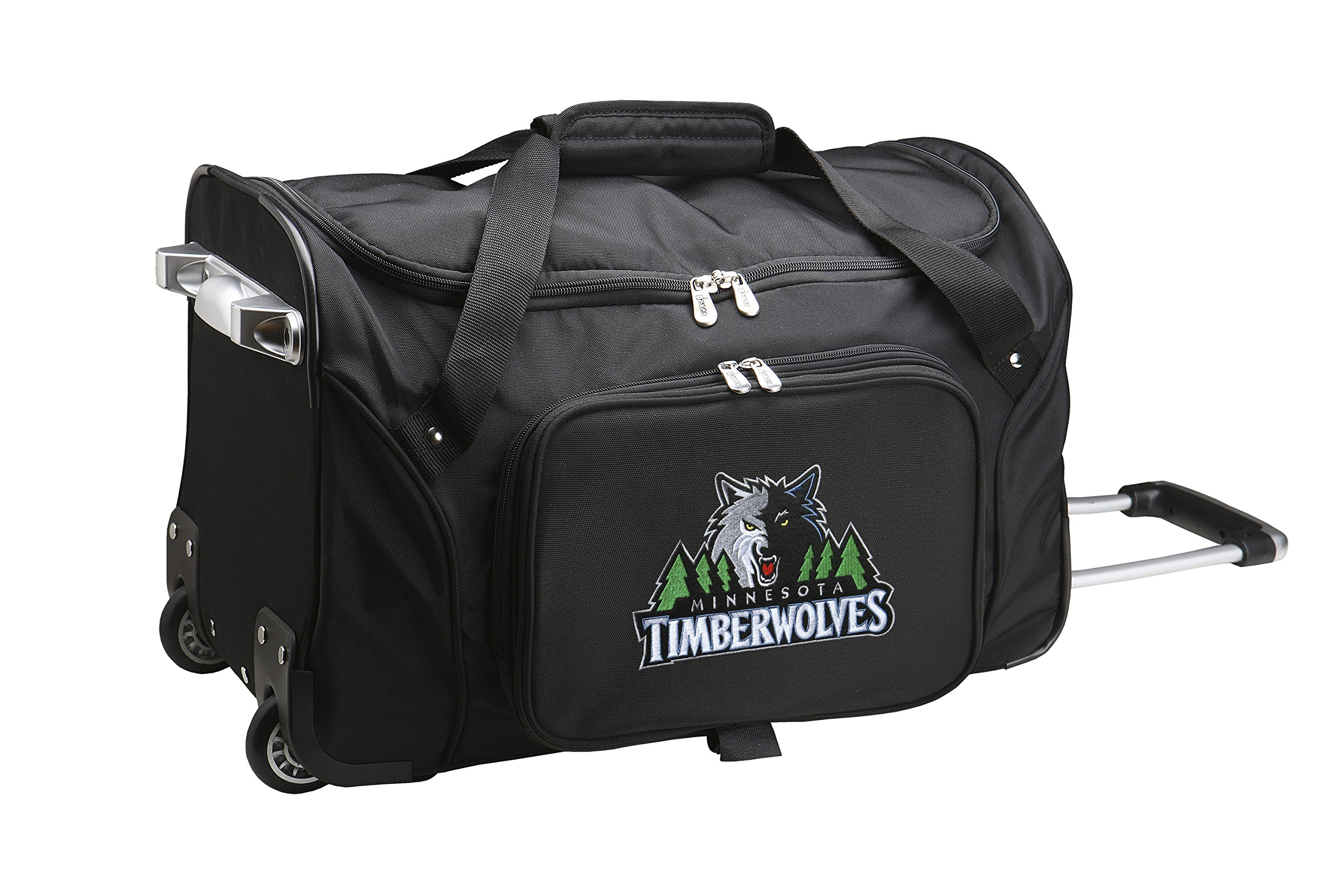 NBA Minnesota Timberwolves Wheeled Duffle Bag, 22 x 12 x 5.5'', Black