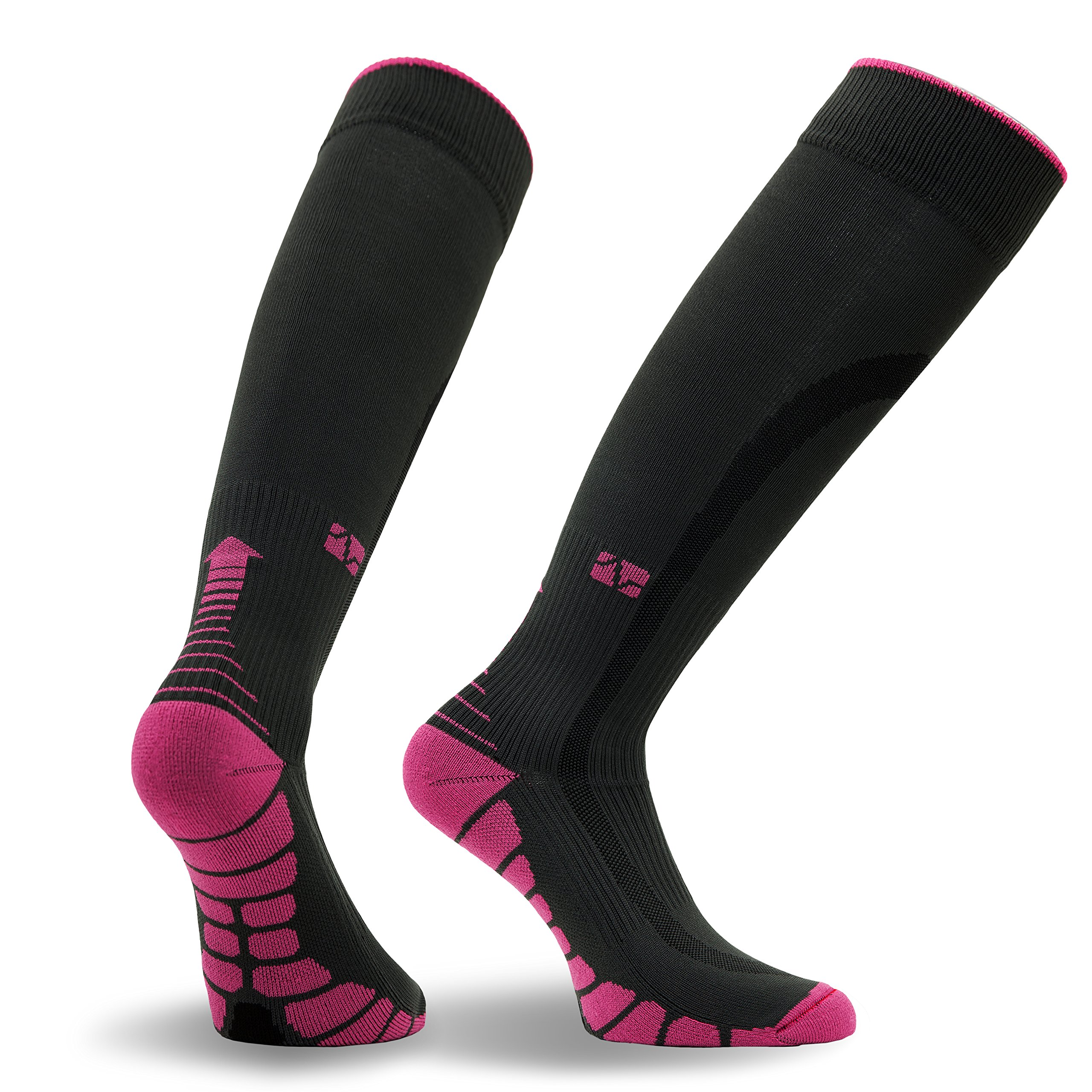 Vitalsox Patented Graduated Compression Socks, Carbon/Pink, Medium by Vitalsox