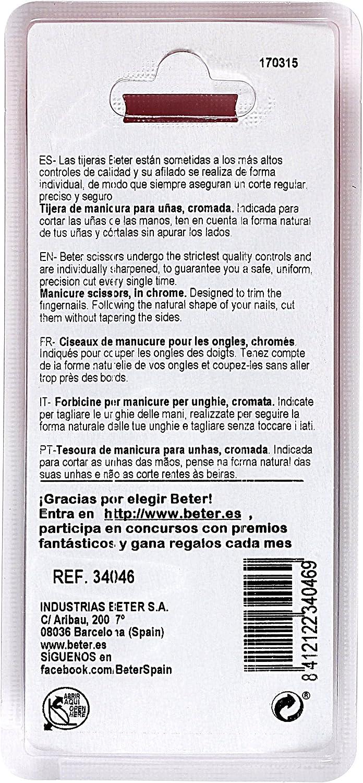 Beter Tijeras Manicura Uñas Curva Cromada - 125 gr: Amazon.es: Belleza