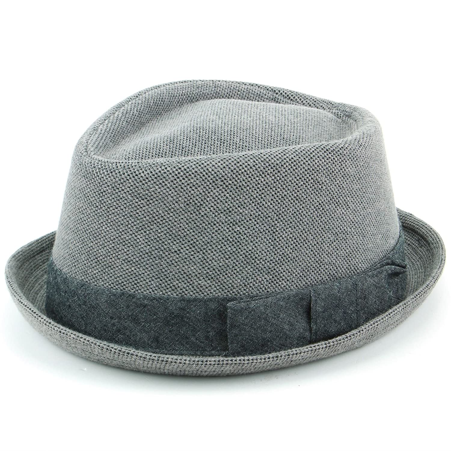 Hawkins Grey Cotton Porkpie Hat