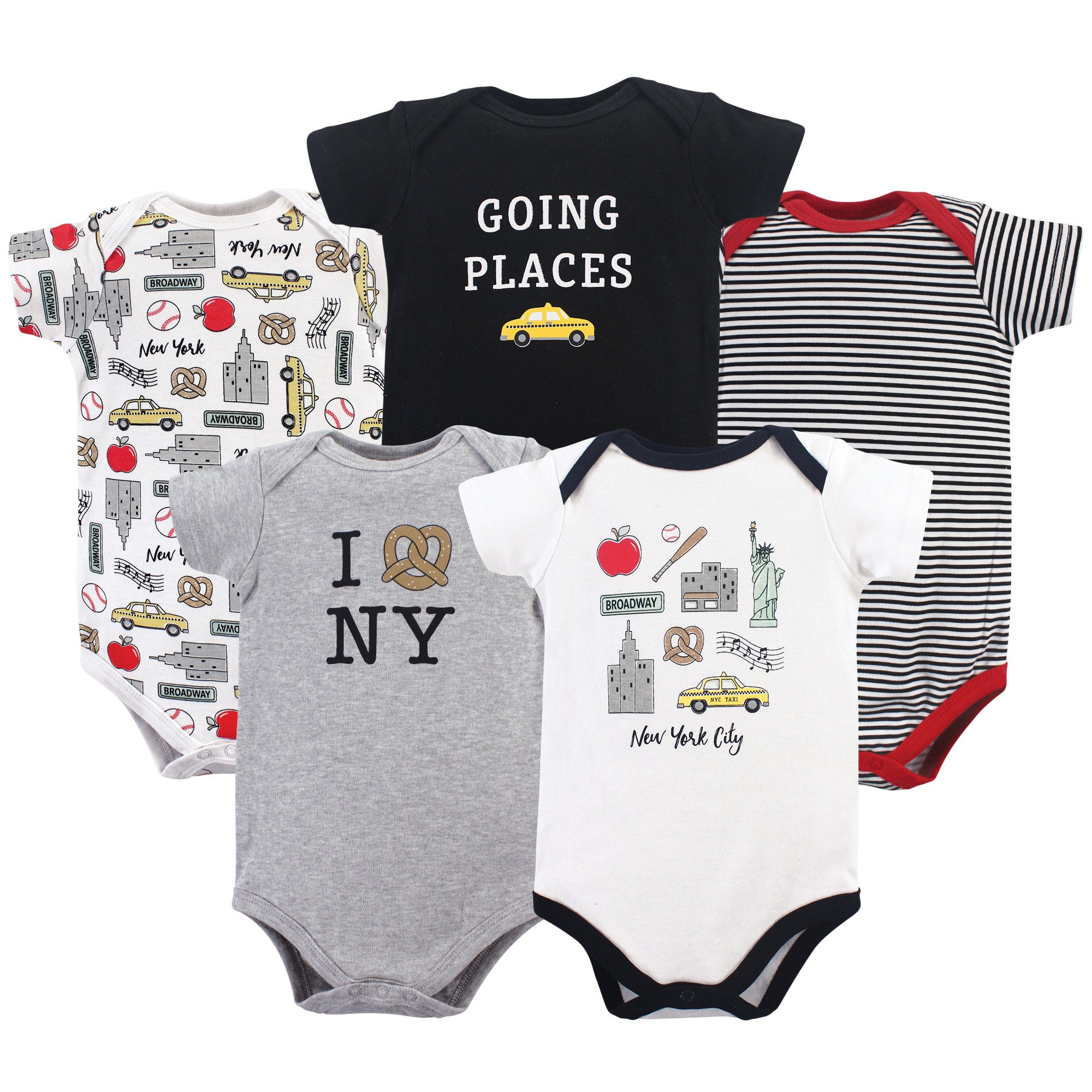 Hudson Baby Cotton Bodysuits, New York City 5 Pack, 6-9 Months