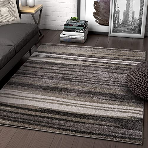 Well Woven Rocoso Stripes Grey Geometric Modern Abstract Lines Area Rug 8×11 7'10″ x 9'10″ Carpet