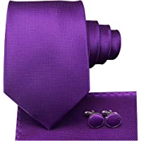 Dubulle Mens Purple Ties Pocket Square Cufflinks Set Plain Solid Color Plaid Style Necktie